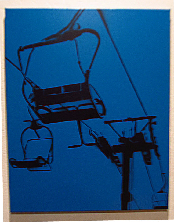 Chair Lift on Blue - Spray paint stencil modern art - simple design
