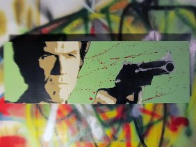 Clint Eastwood - Dirty Harry Spray Paint stencil art on canvas