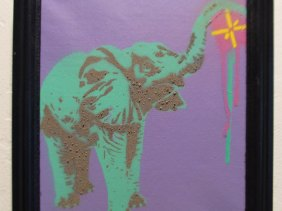 Elephant Drip - Framed spray paint stencil art