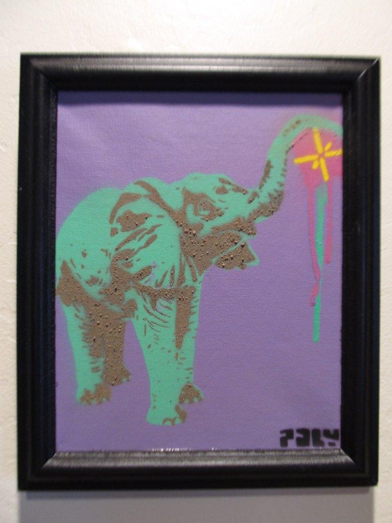 Elephant Drip - Framed spray paint stencil art