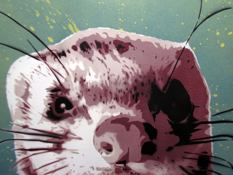 cute ferret spray paint stencil art