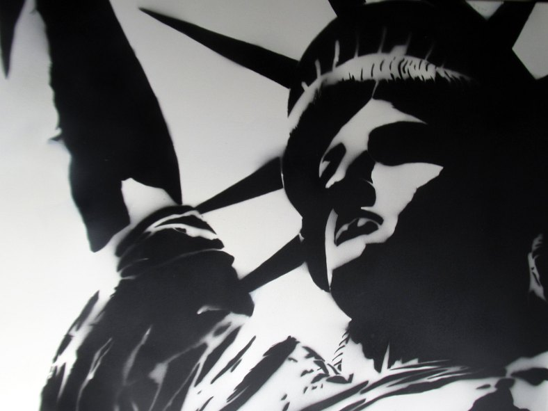 Spray paint stencil art Banksy style - Statue Of Liberty - LARGE spray paint graffiti stencil modern art on canvas
