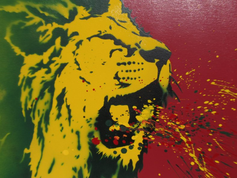 Rasta Lion - spray paint stencil art