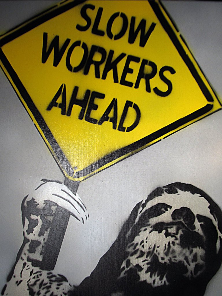 Spray paint stencil pop art - Sloth Contruction worker slow sign painting on canvas